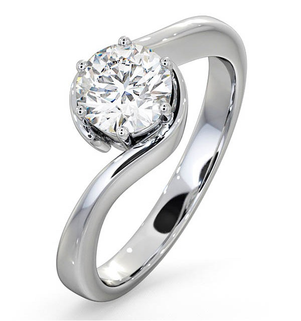 Certified 0.90CT Leah 18K White Gold Engagement Ring E/VS2 - image 1