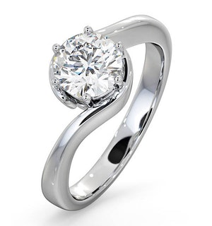 Certified 1.00CT Leah 18K White Gold Engagement Ring G/SI2