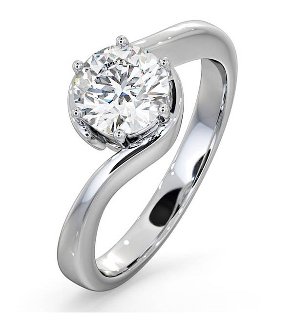 Certified 1.00CT Leah 18K White Gold Engagement Ring E/VS2 - image 1