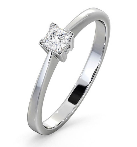 Certified Lauren 18K White Gold Diamond Engagement Ring 0.25CT-G-H/SI - image 1