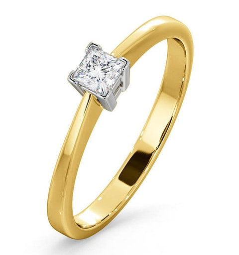 Certified Lauren 18K Gold Diamond Engagement Ring 0.25CT-G-H/SI - image 1