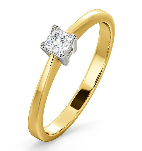 Certified Lauren 18K Gold Diamond Engagement Ring 0.25CT-F-G/VS - image 1