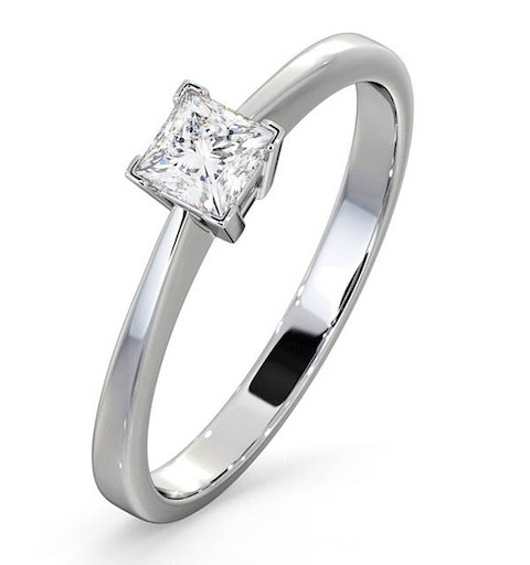 Certified Lauren 18K White Gold Diamond Engagement Ring 0.33CT-G-H/SI - image 1