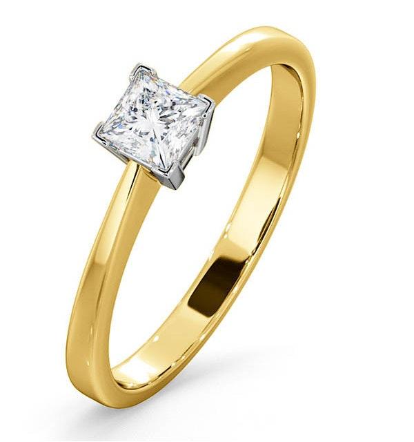 Certified Lauren 18K Gold Diamond Engagement Ring 0.33CT-G-H/SI - image 1