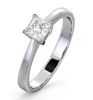 Engagement Ring Certified Lauren 18K White Gold Diamond 0.50CT-F-G/VS