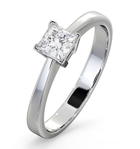 Certified Lauren 18K White Gold Diamond Engagement Ring 0.50CT-G-H/SI - image 1