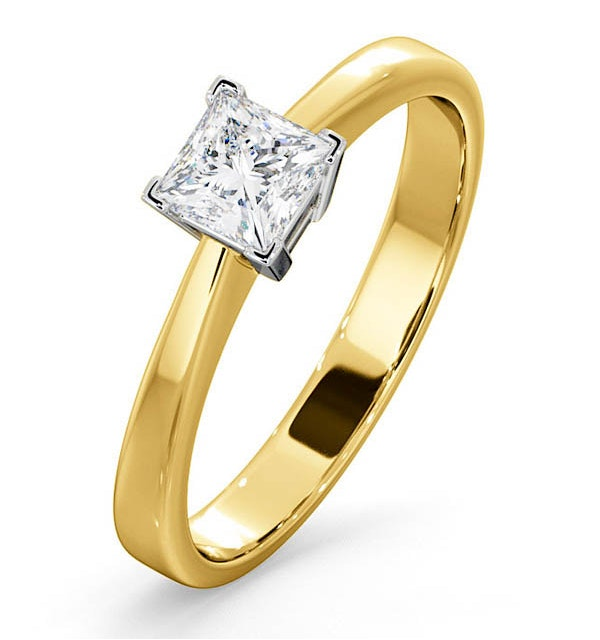 Certified Lauren 18K Gold Diamond Engagement Ring 0.50CT-G-H/SI - image 1