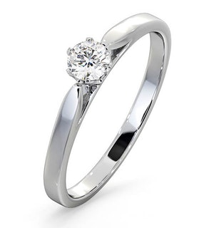 Certified Low Set Chloe Platinum Diamond Engagement Ring 0.25CT-F-G/VS