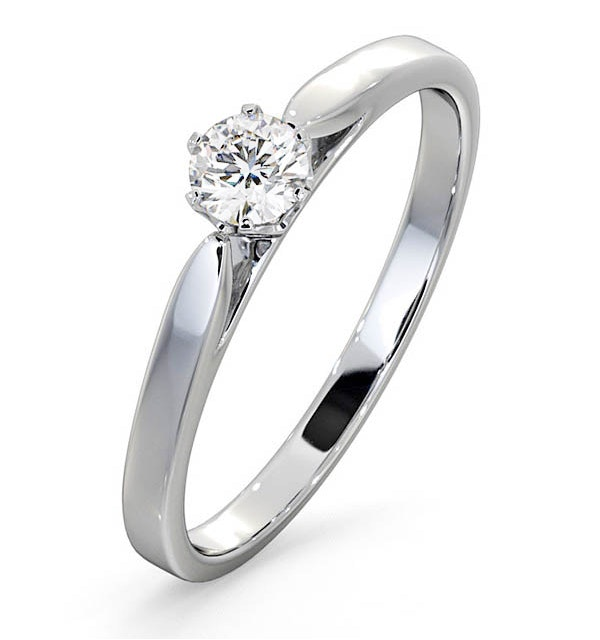 Engagement Ring Certified Diamond 0.25CT H/SI Low Set Chloe 18K Gold - image 1