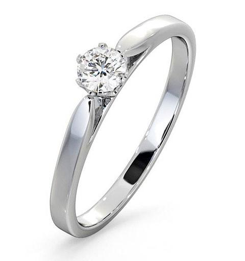 Engagement Ring Certified Low Set Chloe 18K White Gold Diamond 0.25CT - image 1