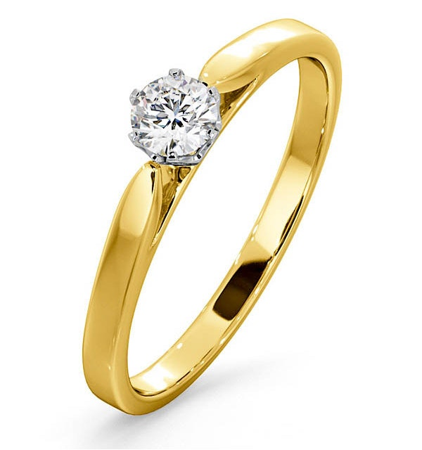 Certified Low Set Chloe 18K Gold Diamond Engagement Ring 0.25CT-G-H/SI - image 1