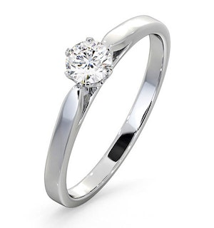 Certified Low Set Chloe Platinum Diamond Engagement Ring 0.33CT-F-G/VS