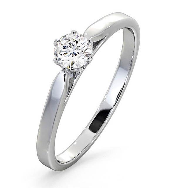 Engagement Ring Certified Low Set Chloe 18K White Gold Diamond 0.33CT - image 1