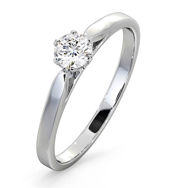 Engagement Ring Certified Low Set Chloe 18K White Gold Diamond 0.33CT - image 1