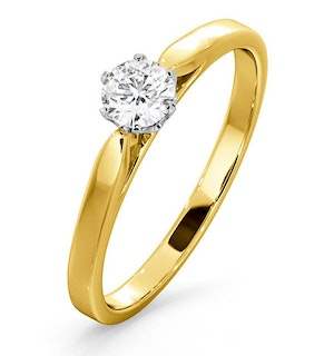Certified Low Set Chloe 18K Gold Diamond Engagement Ring 0.33CT-G-H/SI