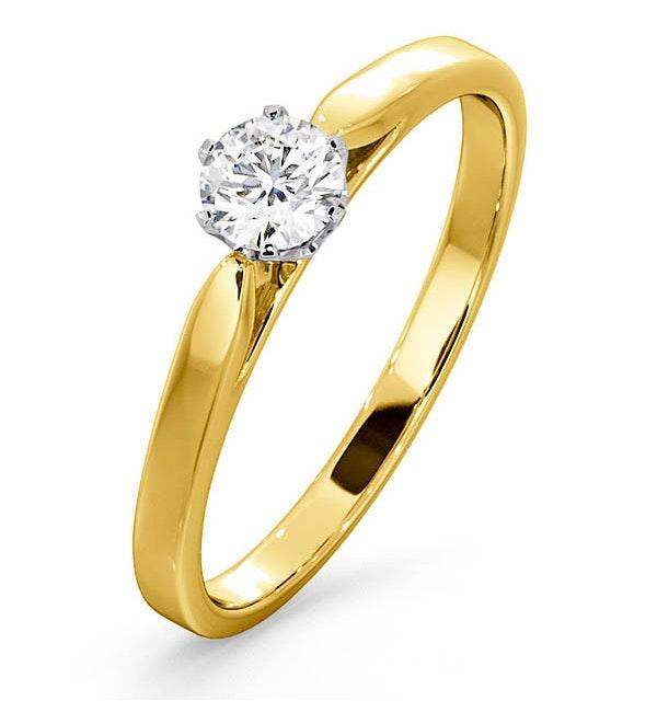 Certified Low Set Chloe 18K Gold Diamond Engagement Ring 0.33CT - image 1