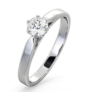 Certified 0.50CT Chloe Low 18K White Gold Engagement Ring E/VS2