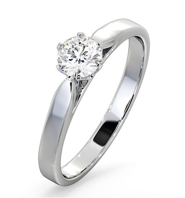 Certified 0.50CT Chloe Low Platinum Engagement Ring E/VS2 - image 1