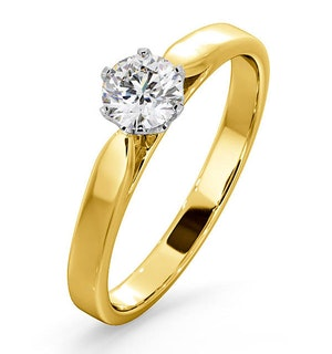 Certified 0.50CT Chloe Low 18K Gold Engagement Ring E/VS2