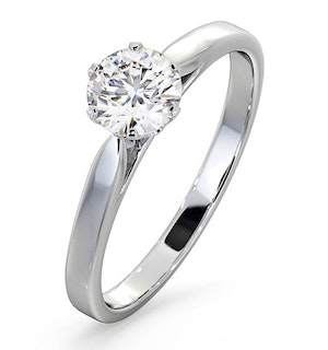 Certified 0.70CT Chloe Low 18K White Gold Engagement Ring G/SI1