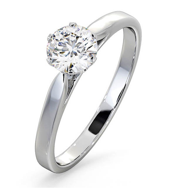 Certified 0.70CT Chloe Low 18K White Gold Engagement Ring G/SI1 - image 1