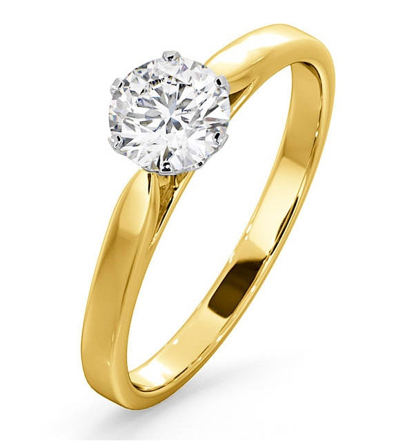 Certified 0.70CT Chloe Low 18K Gold Engagement Ring G/SI1 - image 1