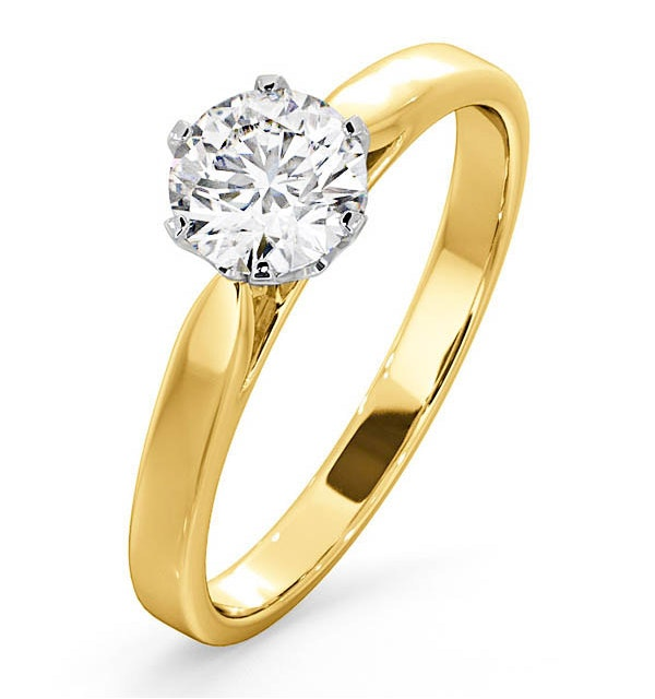 Certified 0.90CT Chloe Low 18K Gold Engagement Ring E/VS1 - image 1