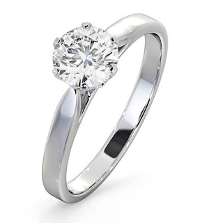 Certified 1.00CT Chloe Low 18K White Gold Engagement Ring G/SI2