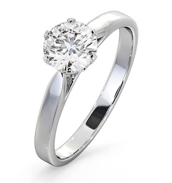 1 Carat Diamond Engagement Ring Low Set Chloe Lab G/VS1 Platinum - image 1