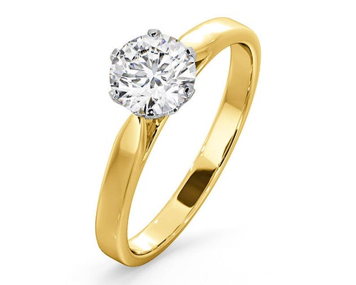 Lab Created Diamond Yellow Gold Engagement Rings