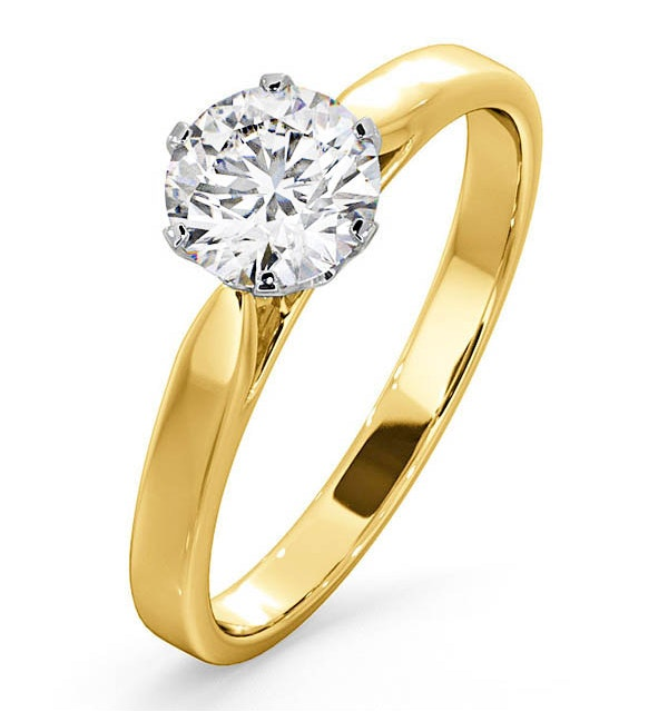 Certified 1.00CT Chloe Low 18K Gold Engagement Ring G/SI2 - image 1