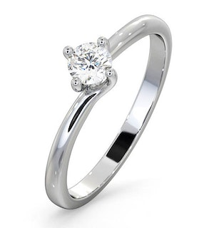 Certified Lily 18K White Gold Diamond Engagement Ring 0.25CT-G-H/SI