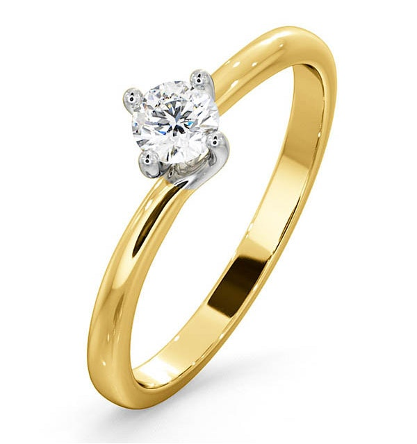 Lily Certified Lab Diamond Engagement Ring 0.25CT F/VS1 18K Gold - image 1