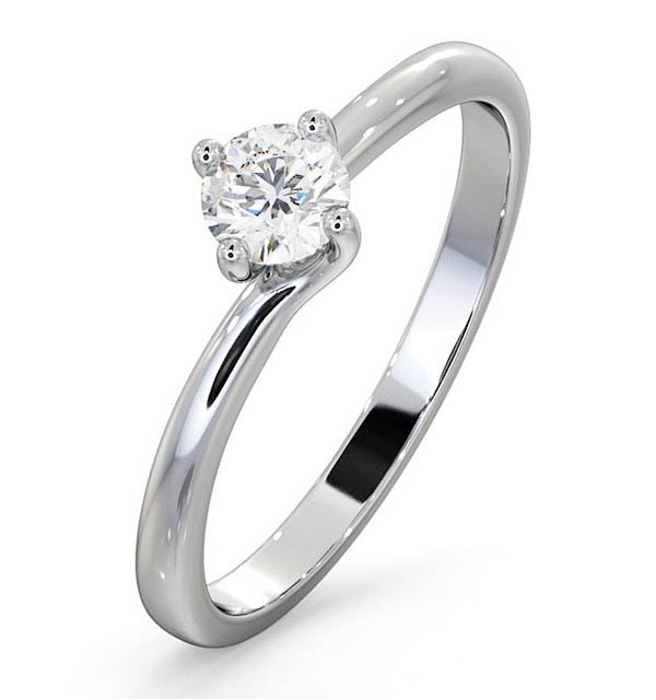 Engagement Ring Certified Lily 18K White Gold Diamond 0.33CT - image 1