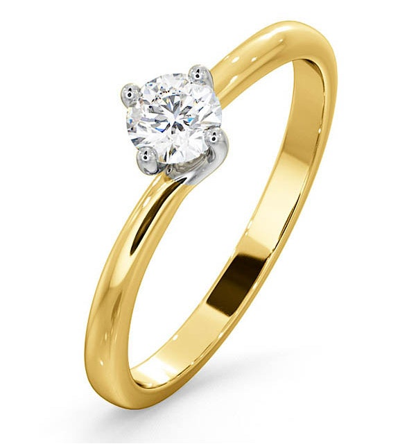 Certified Lily 18K Gold Diamond Engagement Ring 0.33CT-G-H/SI - image 1