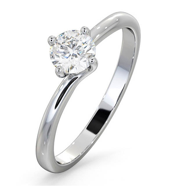 Certified 0.50CT Lily Platinum Engagement Ring G/SI2 - image 1