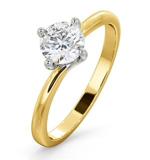 Certified 0.70CT Lily 18K Gold Engagement Ring E/VS1