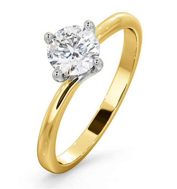 Certified 0.70CT Lily 18K Gold Engagement Ring E/VS2 - image 1