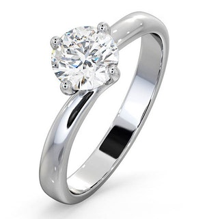 Certified 0.90CT Lily 18K White Gold Engagement Ring G/SI1