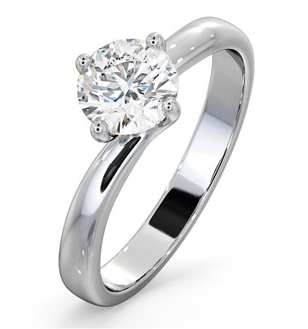 Certified 0.90CT Lily 18K White Gold Engagement Ring G/SI1 - image 1