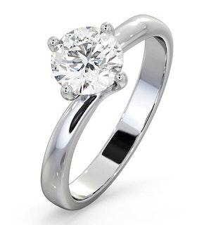Certified 1.00CT Lily 18K White Gold Engagement Ring E/VS2