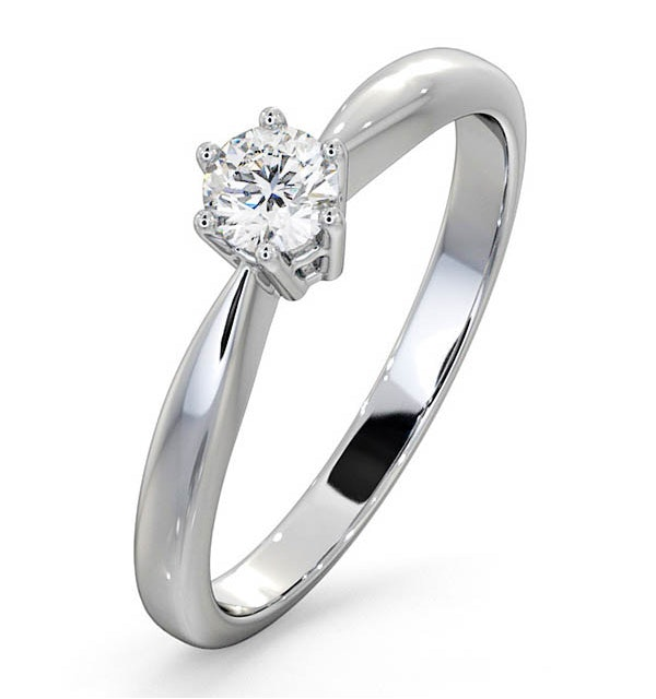 Engagement Ring High Set Chloe 0.25ct Lab Diamond G/Vs in 18KW Gold - image 1