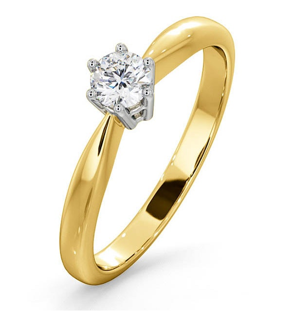Engagement Ring High Set Chloe 0.25ct Lab Diamond G/Vs in 18K Gold - image 1