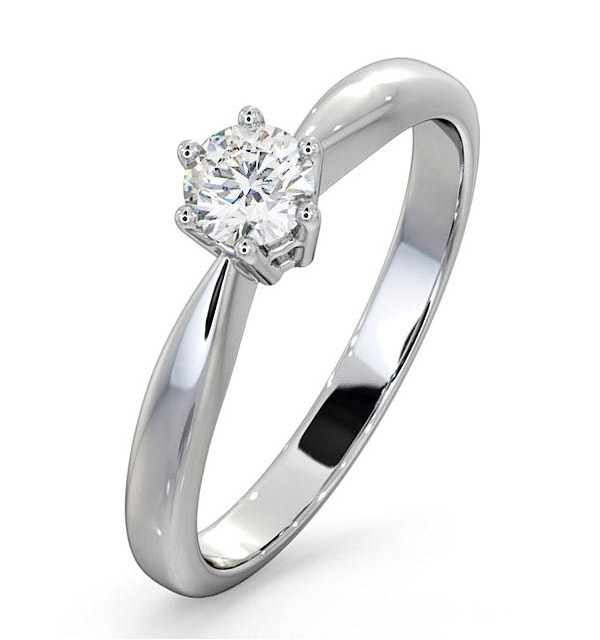 Certified High Set Chloe 18K White Gold Diamond Engagement Ring 0.33CT - image 1