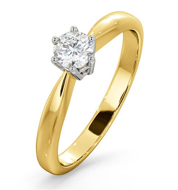Engagement Ring High Set Chloe 0.33ct Lab Diamond H/Si in 18K Gold - image 1