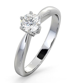 Certified High Set Chloe 18K White Gold Diamond Engagement Ring 0.50CT