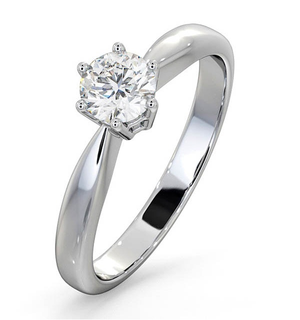 Certified 0.50CT Chloe High 18K White Gold Engagement Ring E/VS1 - image 1