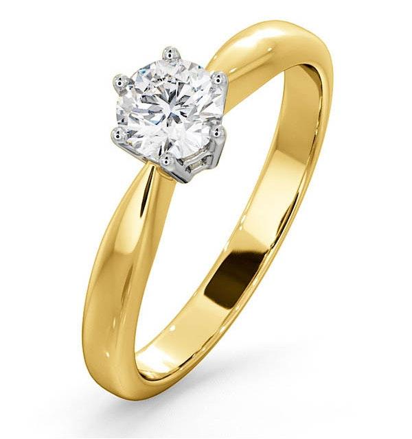 Certified High Set Chloe 18K Gold Diamond Engagement Ring 0.50CT - image 1