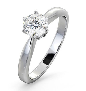 Certified 0.70CT Chloe High 18K White Gold Engagement Ring E/VS1