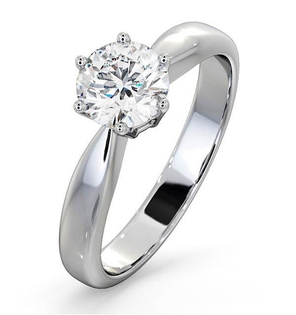 Certified 0.90CT Chloe High Platinum Engagement Ring E/VS2 - image 1